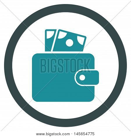 Wallet vector bicolor rounded icon. Image style is a flat icon symbol inside a circle, soft blue colors, white background.