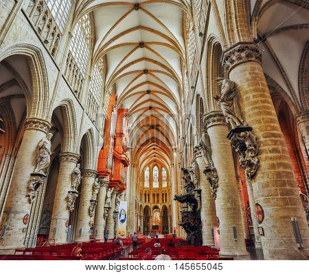 Brussels, Belgium - July 07, 2017 : Iinside Cathedral Of St. Michael And St. Gudula  Is A Roman Cath