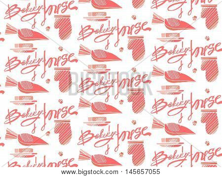 Bakery products hand drawn seamless pattern. Vector illustration.Bakery House calligraphy.Hand drawn calligraphy lettering typography badge. It can be used for signage logos branding product launches
