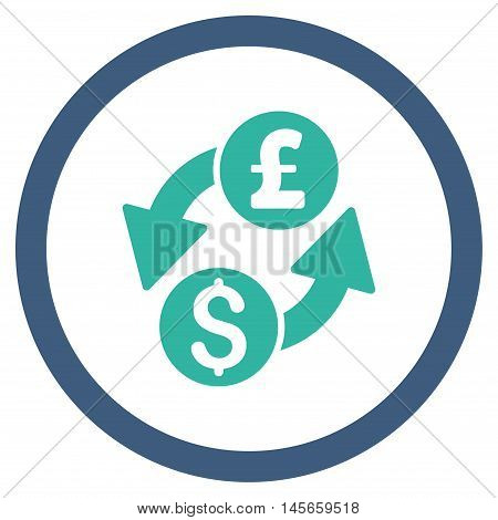 Dollar Pound Exchange vector bicolor rounded icon. Image style is a flat icon symbol inside a circle cobalt and cyan colors white background.