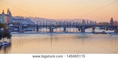 Sunrise early morning over bridge vltava river in Prague city. Czech republic