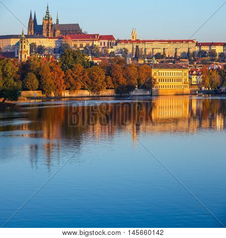 Morning view to Saint Vitus Cathedral castle over Vltava river. In Prague. Czech republic