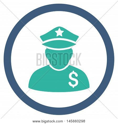 Financial Policeman vector bicolor rounded icon. Image style is a flat icon symbol inside a circle, cobalt and cyan colors, white background.