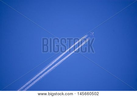 A plane flying on a perfectly blue sky with vapor trail