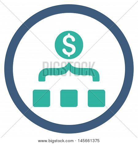 Money Aggregator vector bicolor rounded icon. Image style is a flat icon symbol inside a circle cobalt and cyan colors white background.