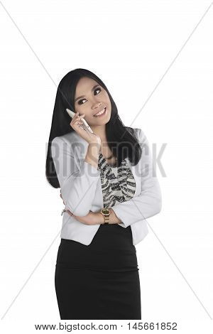 Young And Pretty Asian Bussiness Woman Talk With Her Cellphone