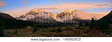 Columbia Icefield panorama with snow covered mountains at sunrise in Banff Jasper National Park, Canada.