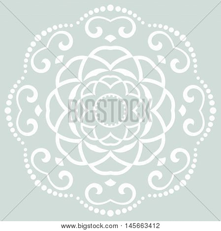Oriental pattern with arabesques and floral elements. Traditional classic ornament. Light blue and white round pattern