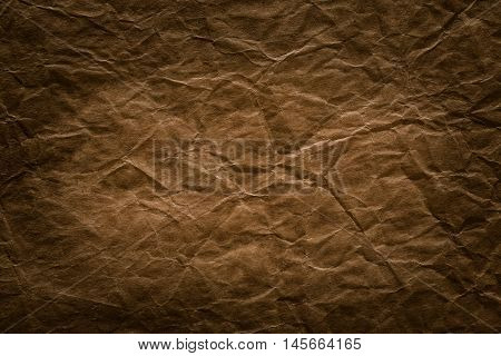 Rough Paper Background Aged Brown Creased Texture of Wrinkled Page