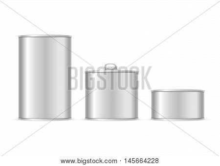 Set of Metallic Tin Cans. Different Size for Your Business. Vector illustration