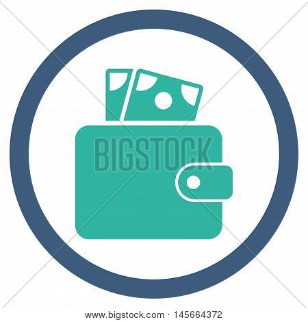 Wallet vector bicolor rounded icon. Image style is a flat icon symbol inside a circle, cobalt and cyan colors, white background.