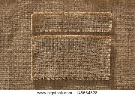 Burlap Fabric Frames Pieces Labels Linen Cloth Patch on Hessian Texture