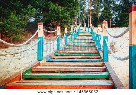 A wooden staircase with colored steps and rope railing rises up on a sandy beach among the pines.