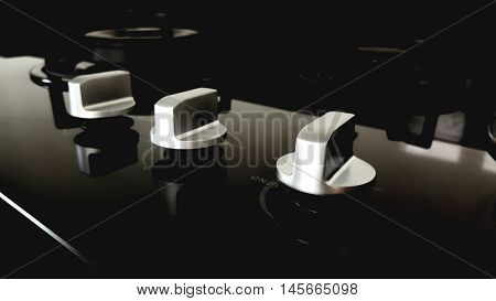 Gas stove with stainless tray selling in appliance retail store