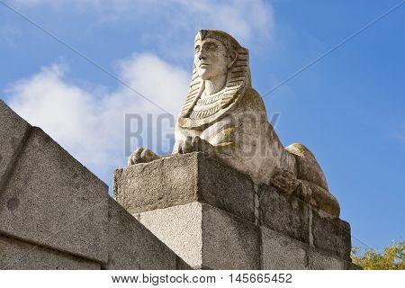 Satatue of a Sphinx in Retiro Park, Madrid, Spain