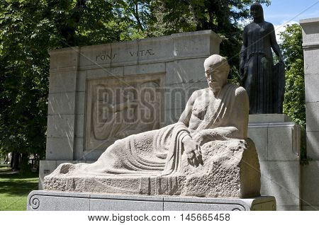 Monument to Santiago Ramon y Cajal. It is located at Retiro Park Madrid Spain. Its author is the sculptor Victorio Macho and was inaugurated on 1926.