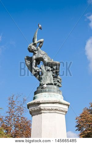Fountain of the Fallen Angel. It is a highlight in Retiro Park, Madrid, Spain. It was built by Ricardo Bellver in 1877.