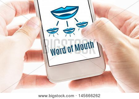 Close Up Two Hand Holding Smart Phone With Word Of Mouth Online Network Word And Icons, Digital Conc