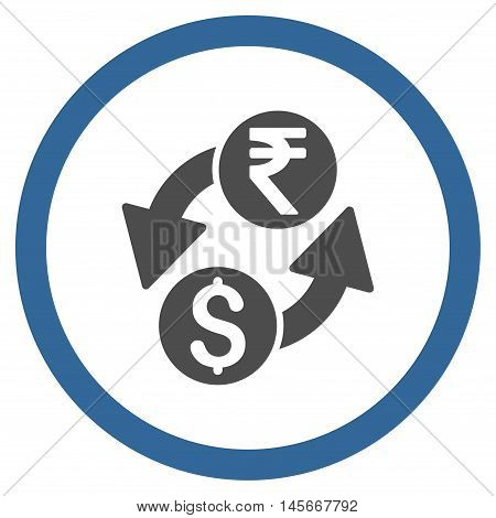 Dollar Rupee Exchange vector bicolor rounded icon. Image style is a flat icon symbol inside a circle, cobalt and gray colors, white background.