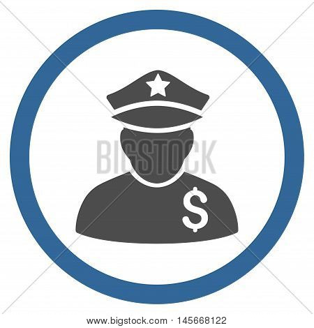 Financial Policeman vector bicolor rounded icon. Image style is a flat icon symbol inside a circle, cobalt and gray colors, white background.