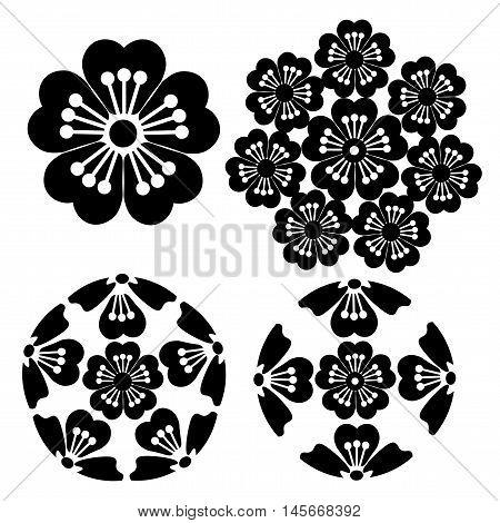 The stylized Sakura flower , Japanese symbolism vector illustration.