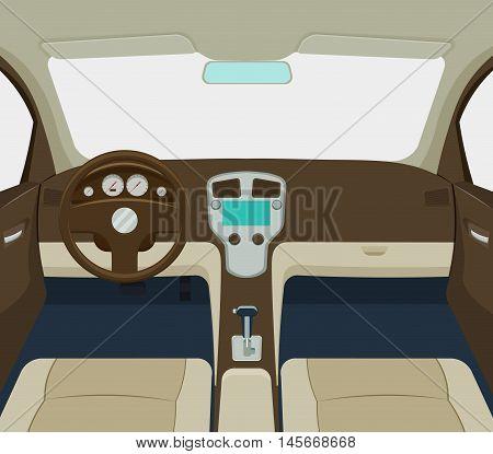 grey car interior cartoon a vector illustration