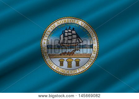 Flag of Norfolk Virginia United States. 3D illustration