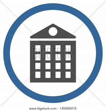 Multi-Storey House vector bicolor rounded icon. Image style is a flat icon symbol inside a circle, cobalt and gray colors, white background.