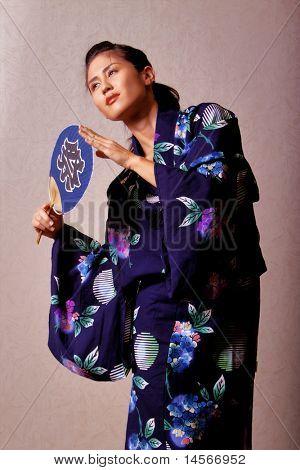 Gorgeous japanese woman wearing kimono robe
