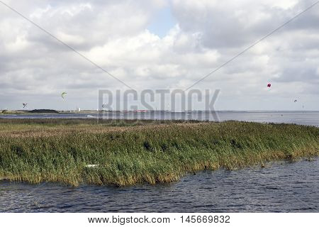 View from new dam crossing Ringkobing Fjord in Jutland Denmark - Ringkobing City in the background.
