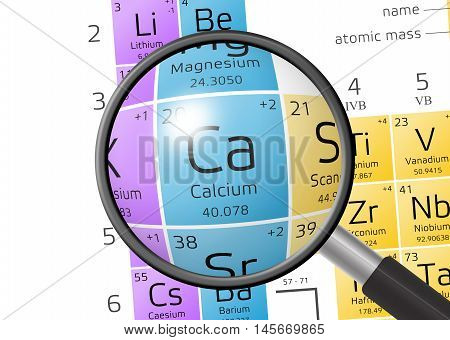 Element Of Calcium With Magnifying Glass