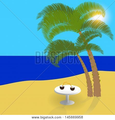 Sea, sun, sand on exotic islands, beautiful holiday in the shade of palm trees. Vector illustration