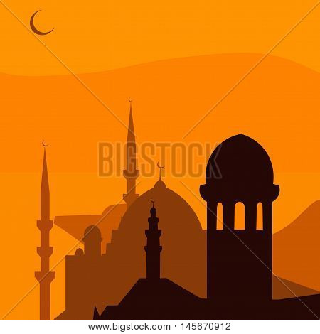 Animated magic Turkish city Istanbul. Ramadan. Vector illustration