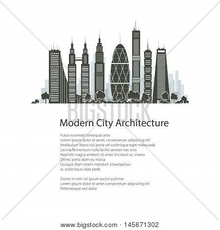 Modern Big City with Buildings and Skyscraper Isolated on White Background and Text , Architecture Megapolis, City Financial Center, Poster Brochure Flyer Design, Vector Illustration