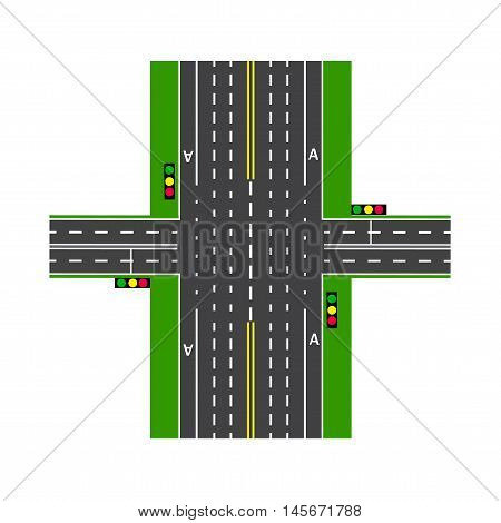 Crossroads. With the help of traffic lights. Road interchange. Lawns. View from above. Vector illustration