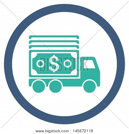 Cash Lorry vector bicolor rounded icon. Image style is a flat icon symbol inside a circle, cobalt and cyan colors, white background.