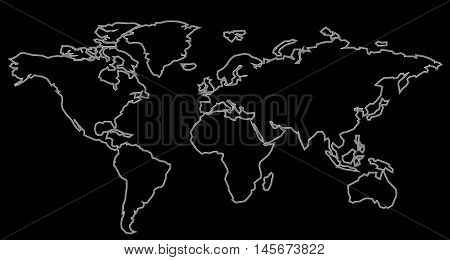 World Map Black Contour. Vector illustration continents