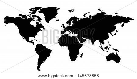 World Map Black. Vector Flat illustration continents