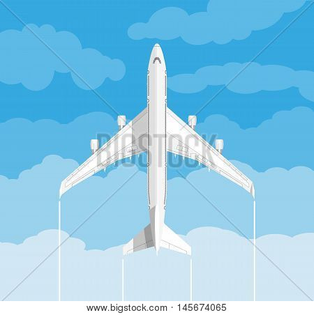 picture of a white civilian plane with clouds. vector illustration in flat design. travel concept