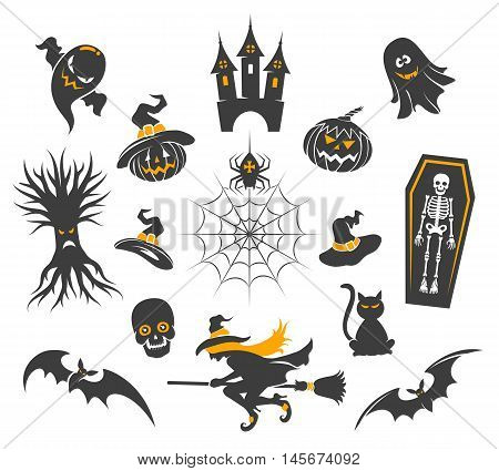 Halloween icons with halloween pumpkins isolated on white. Spider and black cat, skull and witch vector illustration