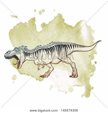 Detailed sketch style drawing of the roaring tirannosaurus rex. Full-lenght figure. Threatening pose. Grunge background. EPS10 vector illustration.