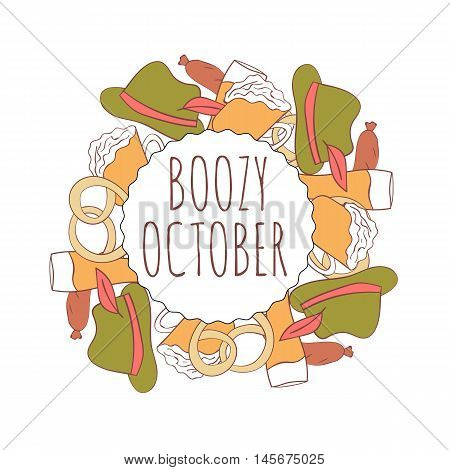 Hand drawn card with beer mug , pretzels and traditional bavarian clothing isolated on white background. October. Boozy october.