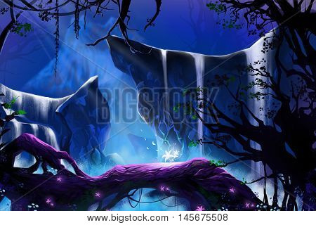 Mystery Glowing Flower in the Deep Forest. Video Game's Digital CG Artwork, Concept Illustration, Realistic Cartoon Style Background