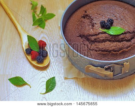 Homemade chocolate cake decorated with berries and mint leaves. Selective focus.