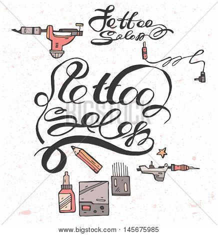 Hand draw lettering  text for Tattoo Salon .Vector calligraphy on white background with color icons.Tattoo Salon design.Part 1.