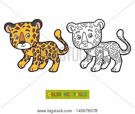 Coloring book for children, vector animal Jaguar