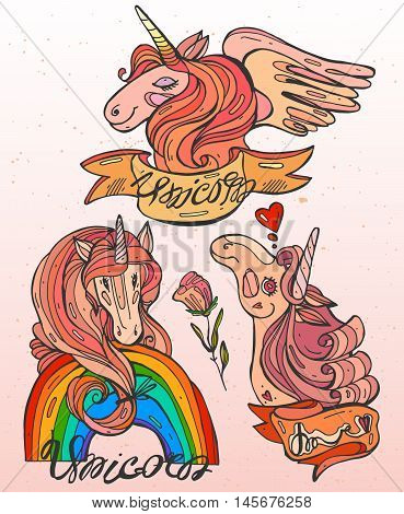 A set of three hand draw vector cartoon magic unicorns with bright pink manesrainbowframesflowers and unicorn lettering.