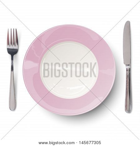 Empty plate in light rosy design with knife and fork isolated. View from above.