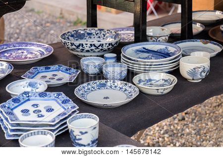 porcelain crockery at Flea Market near Osu Kannon temple in Nagoya Japan