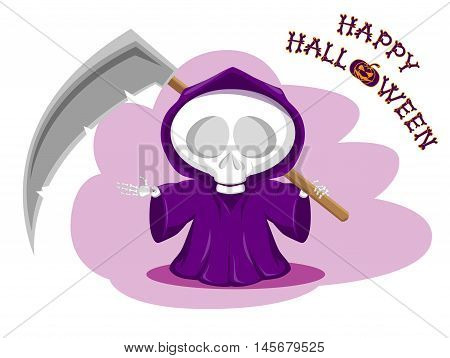 Funny little death with a large scythe. Title Happy Halloween from bones isolated on white background. Cartoon style. Vector illustration